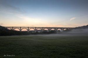 Tunkhannock Viaduct at Foggy Sunrise