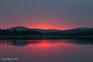 Sunset on Remote North Maine Woods lake