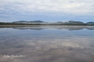 Cloud and Mountains Reflecting in North Maine Lake