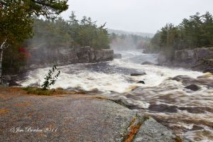 Cribworks on Penobscot River Maine on Rainy day